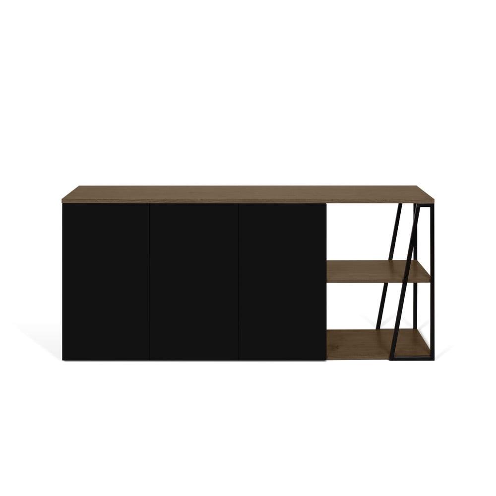 Čierna komoda TemaHome Albi, šírka 190 cm