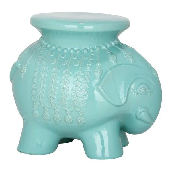 Tyrkysový keramický stolík Elephant