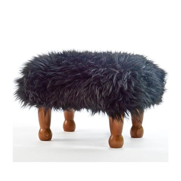 Stolička z ovčí kůže Anwen Coal Black