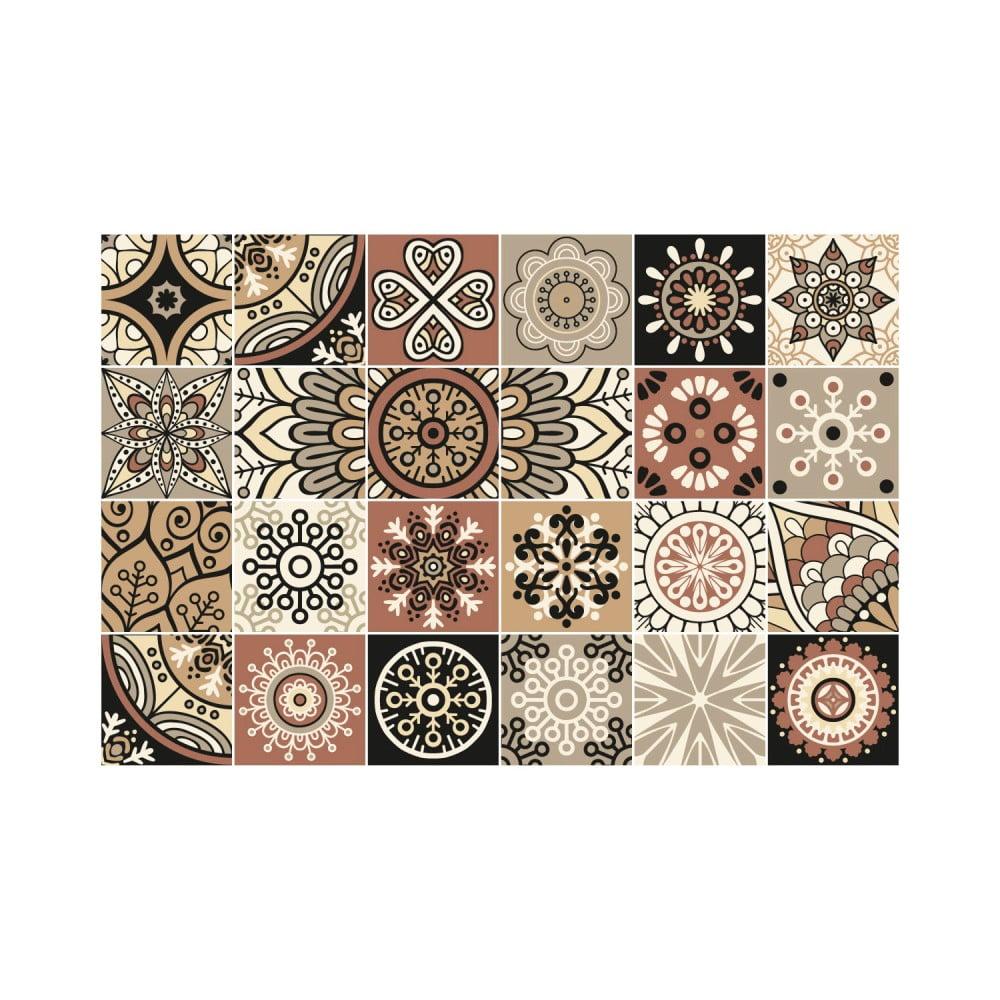 Sada 24 nástenných samolepiek Ambiance Wall Stickers Tiles Piura, 10 × 10 cm