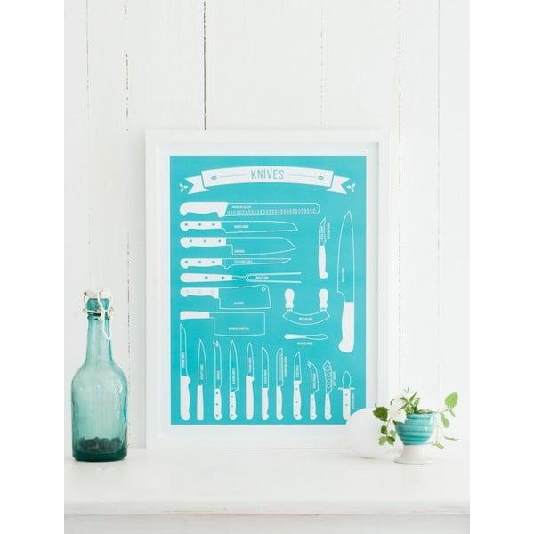 Plagát Follygraph Knives Turquoise 50x70 cm