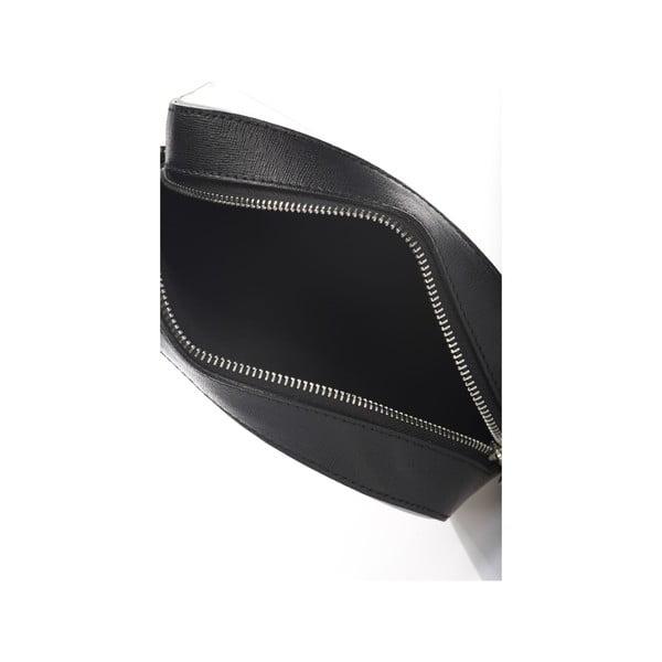Sivo-čierna kožená listová kabelka Krole Kath