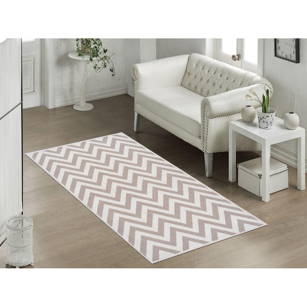 Odolný bavlnený koberec Vitaus Zikzak Bej, 80 × 150 cm
