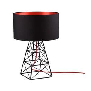 Čierna stolová lampa s červeným káblom Filament Pylón