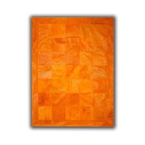 Koberec z pravej kože Plain Orange, 140x200 cm