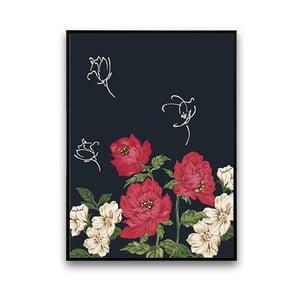 Plagát s červeno-bielymi kvetmi, 30 x 40 cm