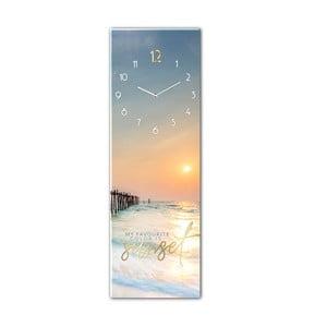 Sklenené nástenné hodiny Styler Sunset, 20 x 60 cm