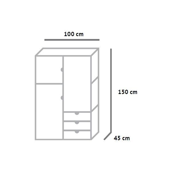 Šatníková skriňa Fam Fara, výška 150 cm
