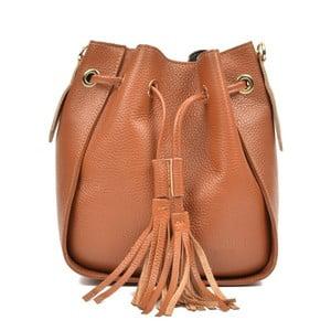 Koňakovo hnedá kožená kabelka Carla Ferreri Jessie
