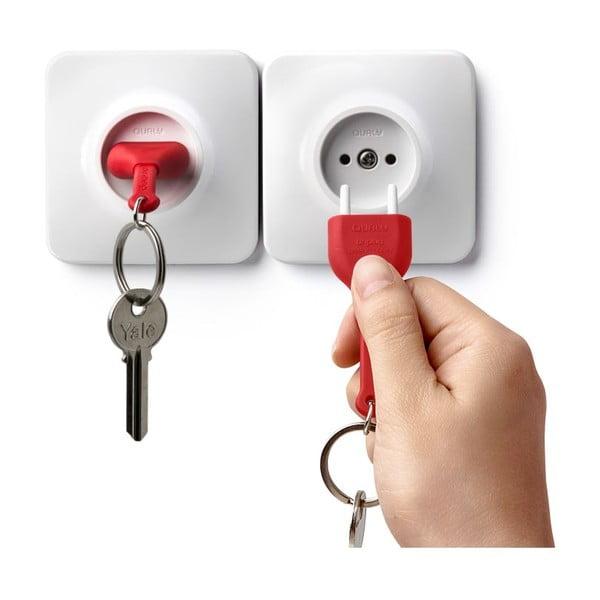 Zásuvka s kľúčenkou QUALY Unplug, červená