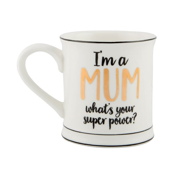 Porcelánový hrnček Sass & Belle Super Mum, 450 ml