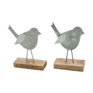 Sada 2 veľkých sivých dekorácií z posmaltovaného kovu na drevenom podstavci s motívom vtáčika Ego Dekor, 15,5×17,5 cm