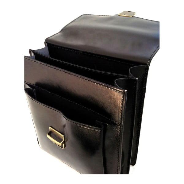 Čierna kožená taška Chicca Borse Joanna