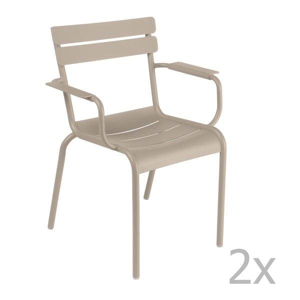 Sada 2 svetlobéžových stoličiek s opierkami na ruky Fermob Luxembourg