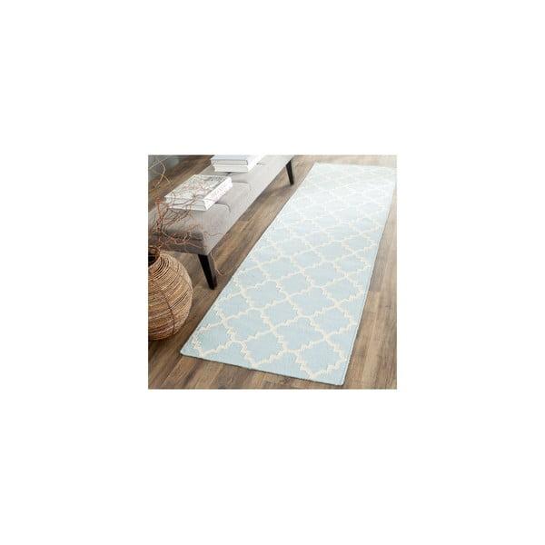 Vlnený koberec Darajen 76x182 cm, svetlo modrý