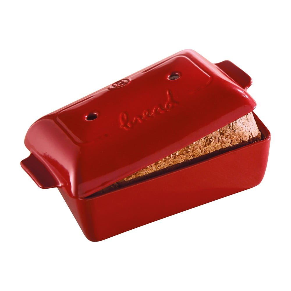 Červená hranatá forma na pečenie chleba Emile Henry