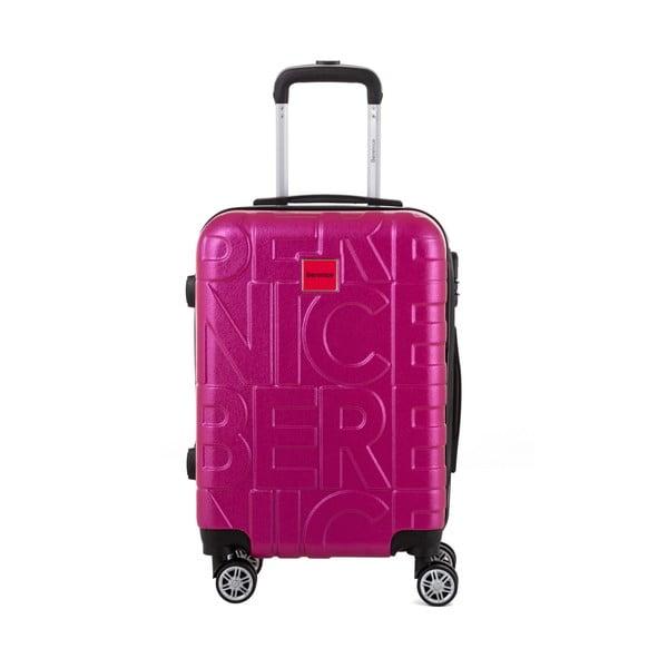 Ružový cestovný kufor Berenice Typo, 44 l