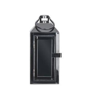 Čierny kovový lampáš s pútkom Villa Collection, 24 cm
