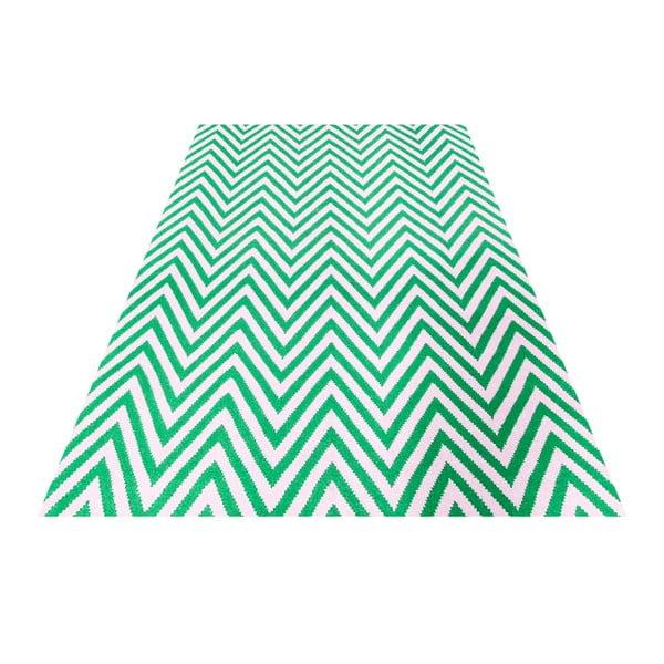 Vlnený koberec Zig Zag Green, 180x120 cm