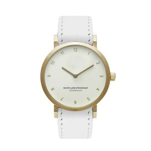 Unisex hodinky s bielym remienkom South Lane Stockholm Sodermalm Gold Big Leather