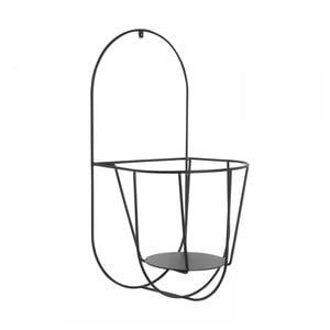 Čierny nástenný držiak na kvetináče OK Design, výška 46 cm
