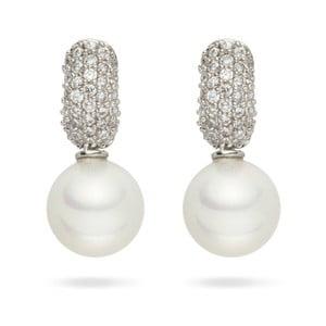 Biele perlové náušnice so zirkónmi Pearls of London Niké