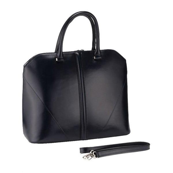 Kožená kabelka Mango, čierna