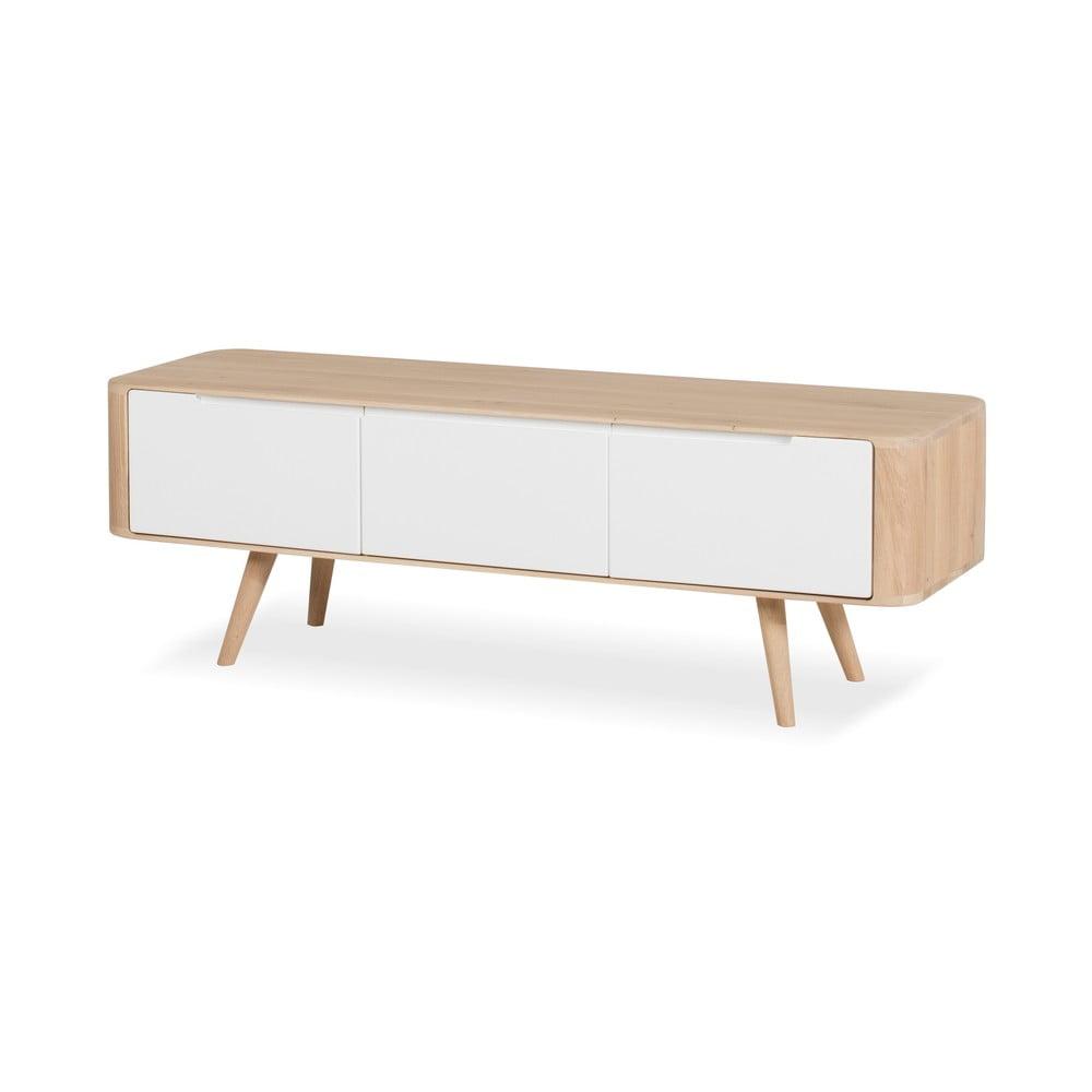 Televízny stolík z dubového dreva Ena, 135 × 55 × 45 cm