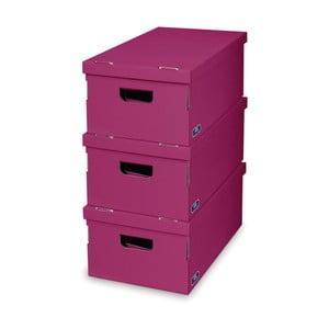 Sada 3 fialových úložných boxov Domopak Living