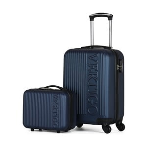 Sada 2 tmavomodrých cestovných kufrov na kolieskach VERTIGO Valises Cabine & Vanity Case
