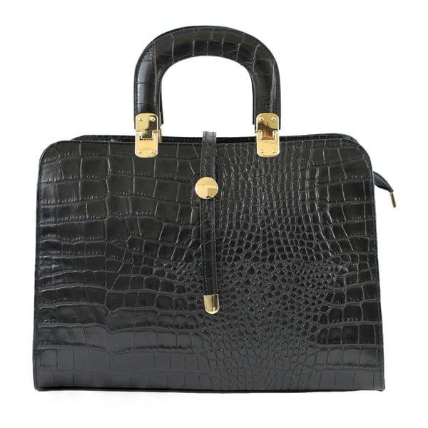 Čierna kožená kabelka Lady