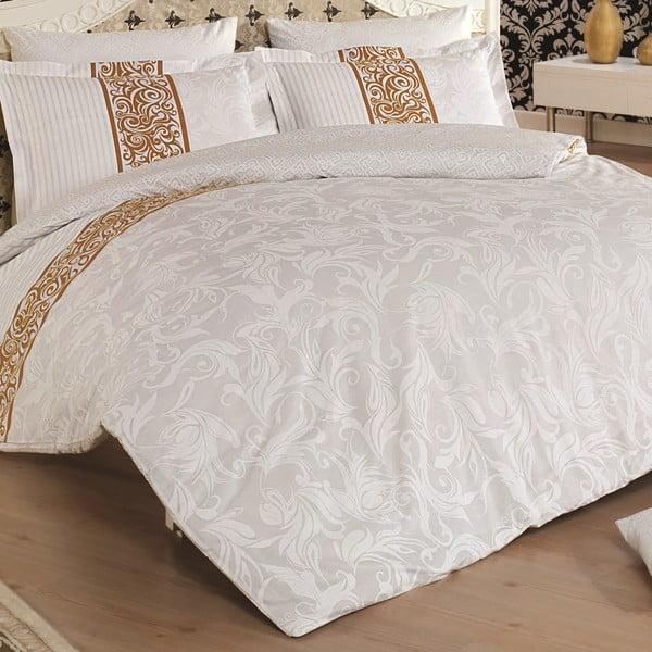 Obliečky z bavlneného saténu s plachtou na dvojlôžko Angelica, 200×220 cm