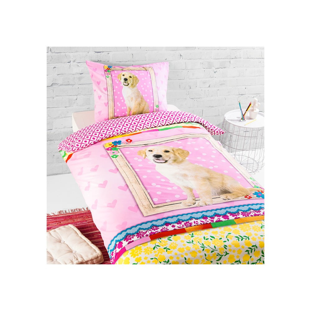 Bavlnené detské posteľné obliečky na jednolôžko Ekkelboom Dog Storm, 140 × 200 cm
