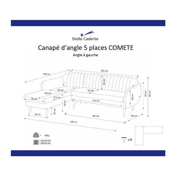 Fialová rohová pohovka Scandi by Stella Cadente Maison Comete, ľavý roh