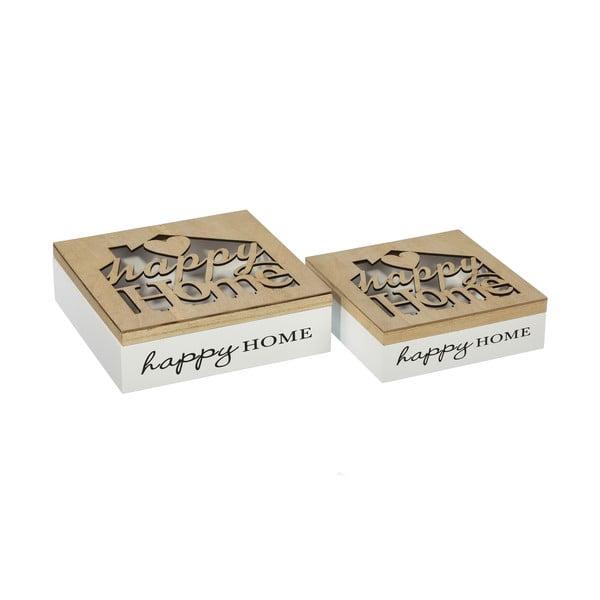 Sada 2 úložných krabičiek Happy Home