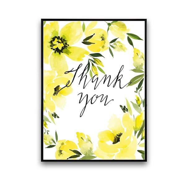 Plagát so žltými kvetmi Thank You, 30 x 40 cm