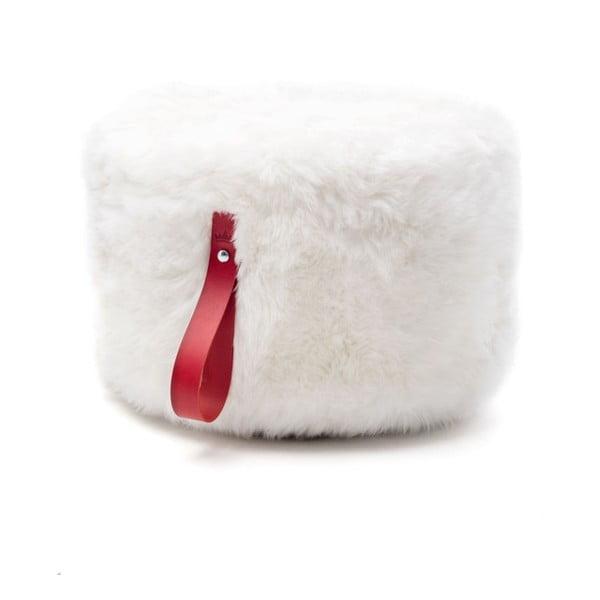 Bielo-červený okrúhly puf z ovčej vlny Royal Dream