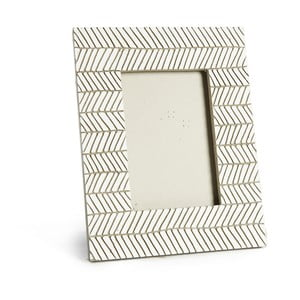 Svetlosivý keramický fotorámik Simla Fishbone, 23 × 18 cm