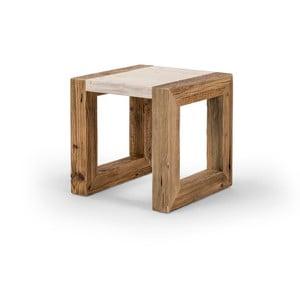 Drevený konferenčný stolík so svetlou doskou Antique Wood, 42x42cm