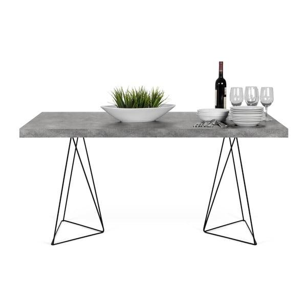 Jedálenský stôl v dekore betónu s čiernou podnožou TemaHome Multi