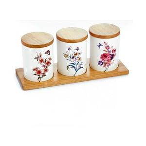 Set 3 porcelánových dóz s bambusovým podnosom Ieria