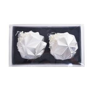 Sada 2 bielych sklenených závesných dekorácií Ewax Origami