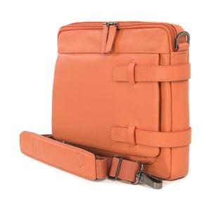Oranžová taška s ramenným popruhom z talianskej kože Tucano Tema