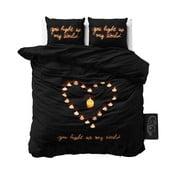 Čierne obliečky z mikroperkálu na jednolôžko Sleeptime Love Candles, 160×200cm