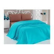 Tyrkysový bavlnený ľahký pléd cez posteľ Taduro, 200×240 cm