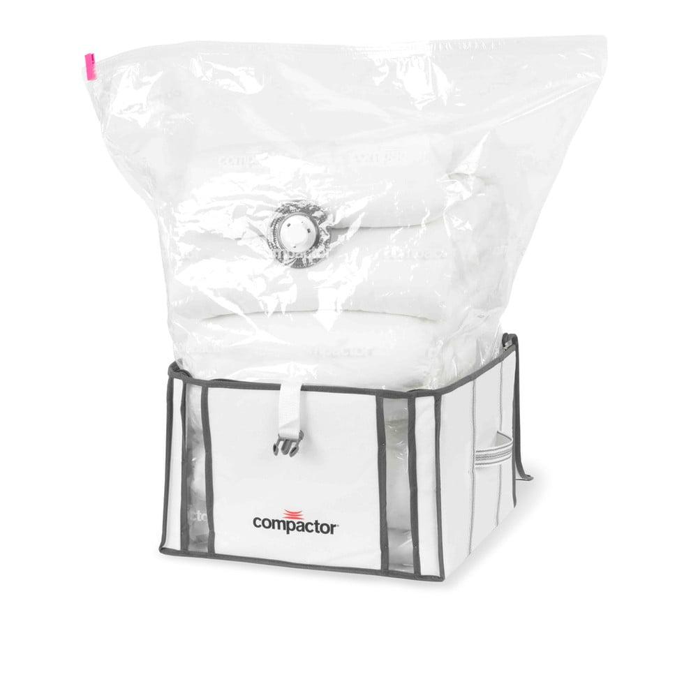 Sada 2 bielych úložných boxov s vakuovým obalom Compactor Life 3D Vacuum Bag, 40 x 25 cm