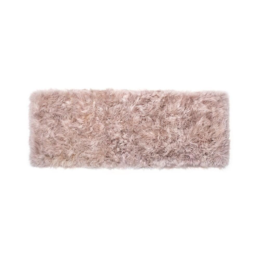 Béžový obdĺžnikový koberec z ovčej vlny Royal Dream Zealand, 190 × 70 cm