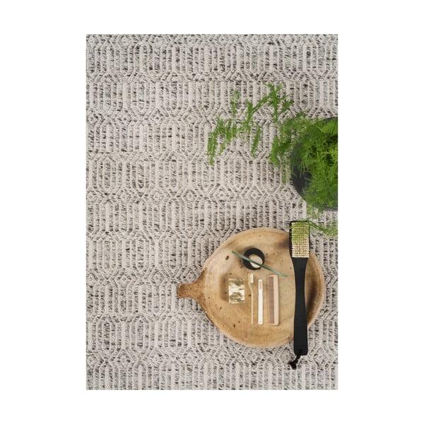 Sivý koberec s prídavkom vlny Justin, 140x200cm