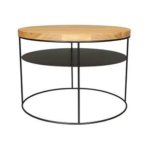 Čierny konferenčný stolík s doskou z dubového dreva Take Me HOME Nysa, ⌀60cm
