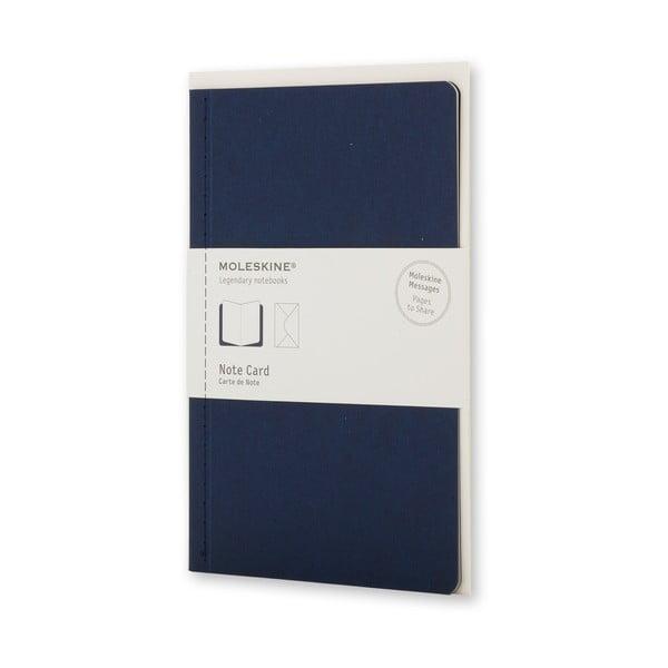 Tmavomodrý Listový set Moleskine, zápisník + obálka, malý